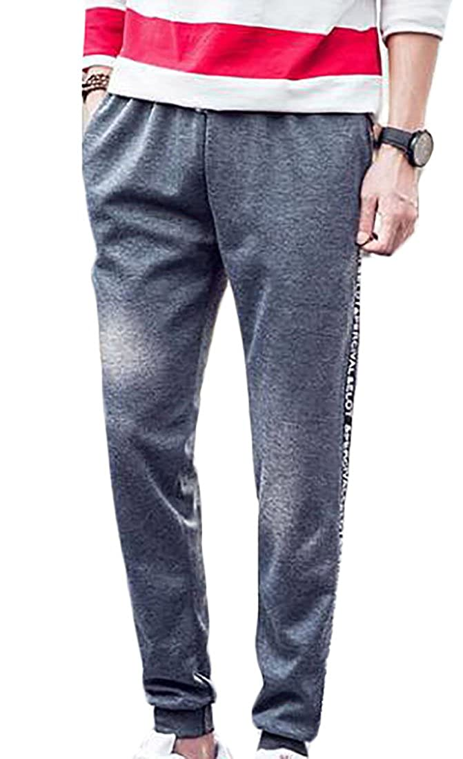 Cromoncent Mens Stretchy Track Slim Fit Letter Jogger Hiking Sweatpants Dark Gray X-Small