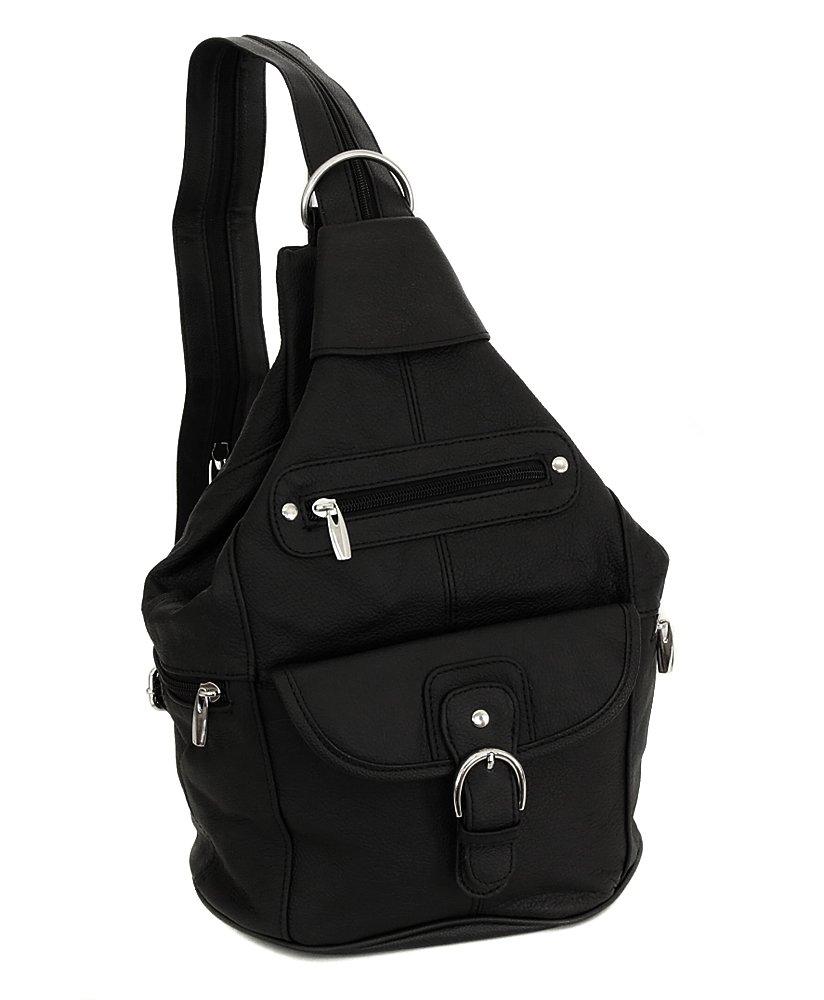 Womens Leather Convertible 7 Pocket Medium Size Tear Drop Sling Backpack Purse Shoulder Bag, Black