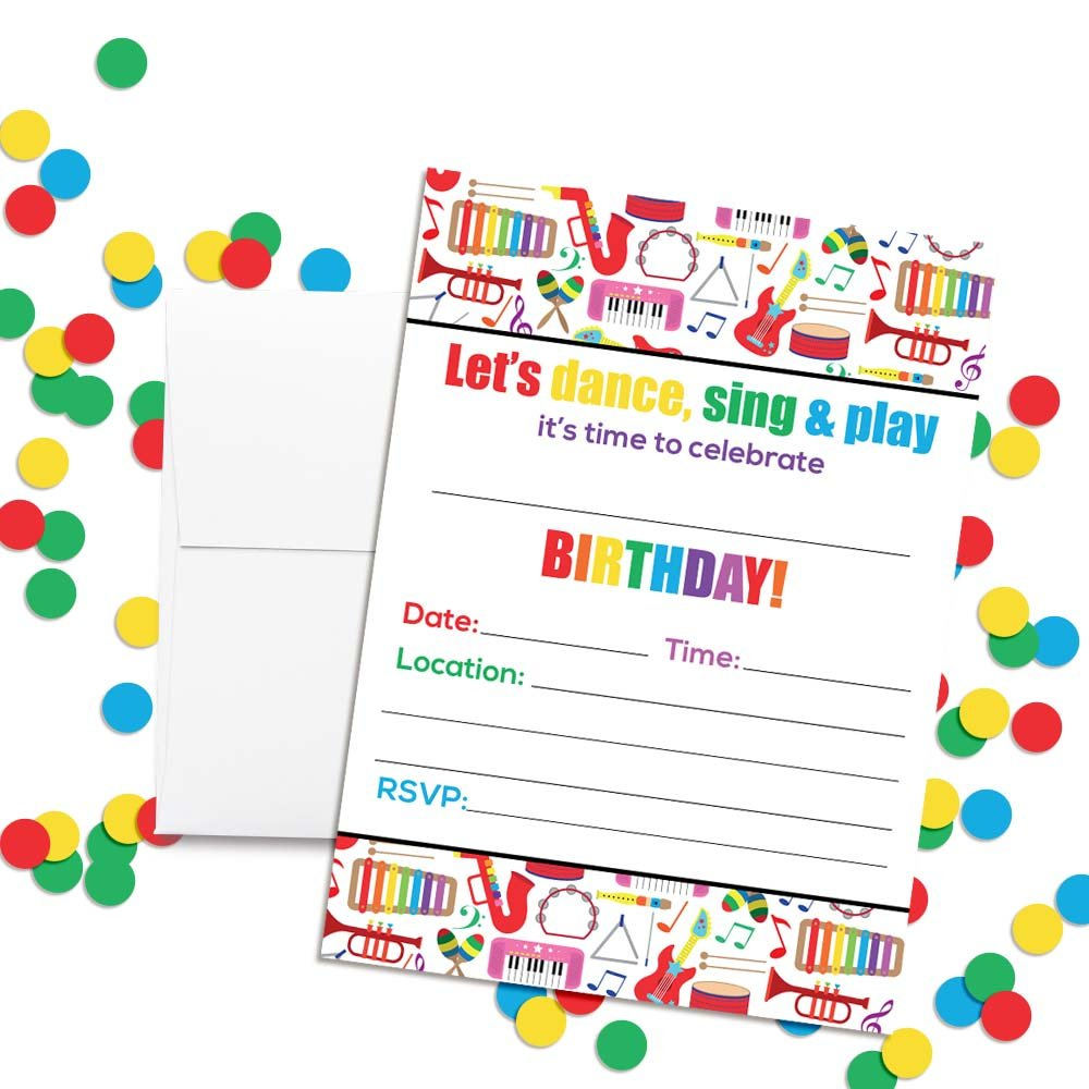 Dance and Play Musical Themed Birthday Party Celebration Fill In Invitations set of 20 by Amanda Creation (Image #2)