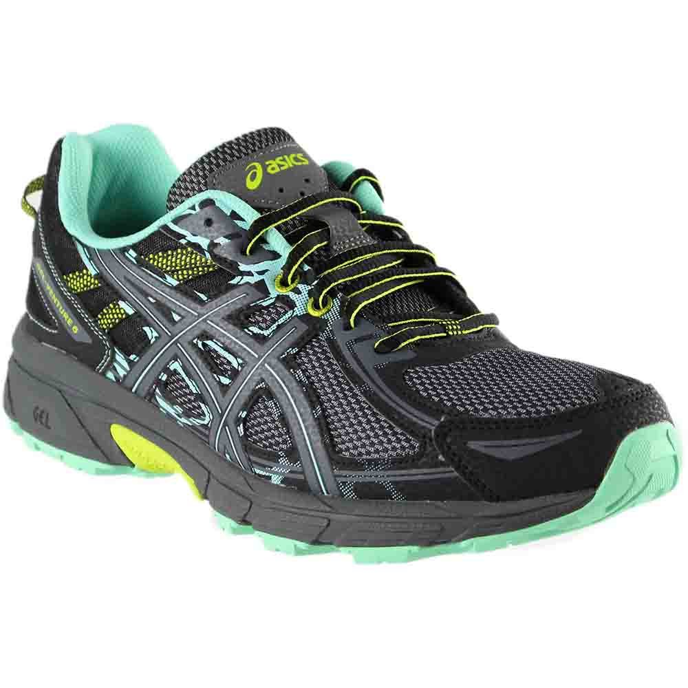 ASICS Women's Gel-Venture 6 Running-Shoes, Black/Carbon/Green,