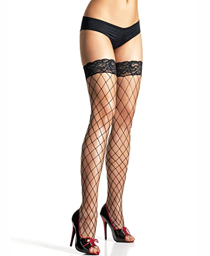 226359150ef Leg Avenue 9037 Women s Fence Net Thigh High Stockings With Lace Top - One  Size -