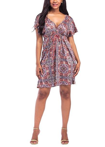 593846ce3b1 Romacci Women Plus Size Floral Print Dress V Neck Short Sleeve Hippie Boho Smock  Dress at Amazon Women s Clothing store