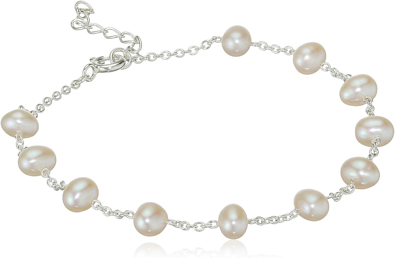 Elements Silver Pulsera Elástica de Plata de Ley con Perlas para Mujer 22 cm
