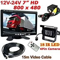 4Pin 12V-24V Bus Truck Trailer Reversing Rear View System 7 HD Digital Color TFT LCD Monitor + 4Pin 18LEDs IR Night Vision Waterproof Reversing Backup Camera with 15M Cable