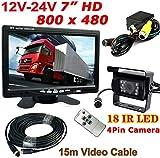 "4Pin 12V-24V Bus Truck Trailer Reversing Rear View System 7"" HD Digital Color TFT LCD Monitor + 4Pin 18LEDs IR Night Vision Waterproof Reversing Backup Camera with 15M Cable"