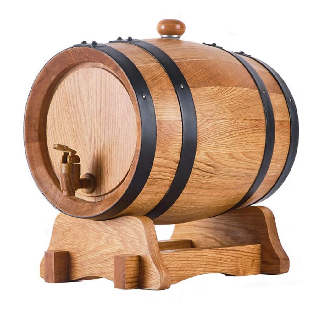Wine barrel GX 3L 5L with Liner Baking Oak Barrels Liters Wood Self-Brewed Wine Wine Wood Barrel Household (Color : True Color, Size : 3L)