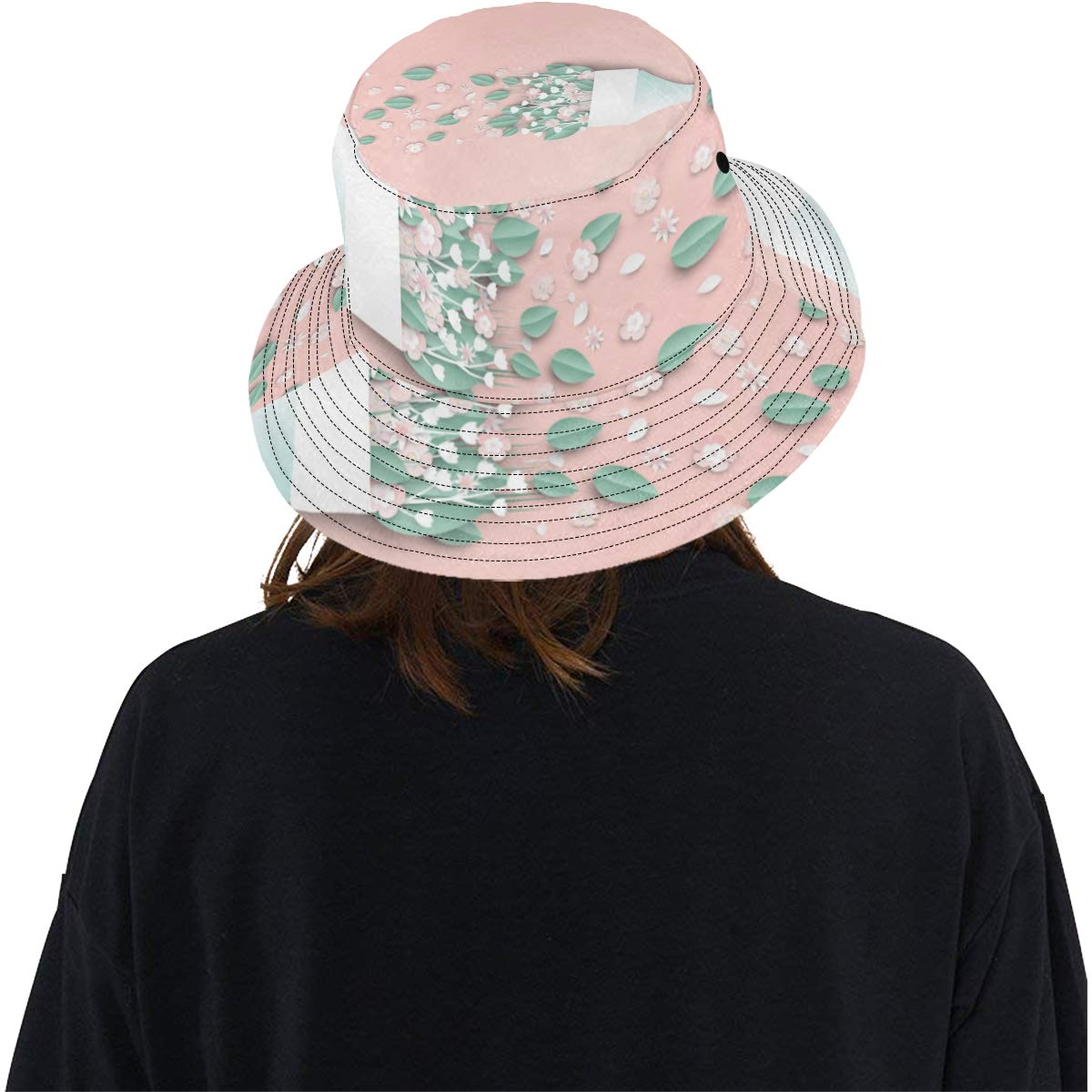 Bouquet Design Paper Flowers Art New Summer Unisex Cotton Fashion Fishing Sun Bucket Hats for Kid Teens Women and Men with Customize Top Packable Fisherman Cap for Outdoor Travel