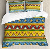 Aztec Duvet Cover Set Queen Size by Ambesonne, Traditional Classic Tribal Style Folk Motif with Sun Figure Ancient Mexican Culture Image, Decorative 3 Piece Bedding Set with 2 Pillow Shams, Multi