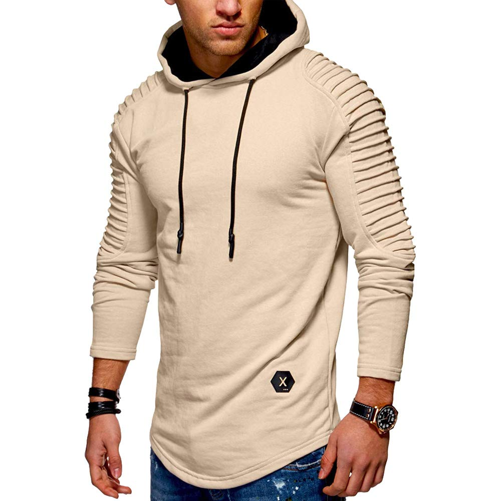 bcbcb1d83dda1 CharMma Men s Solid Pleated Sleeve Patch Detail Long Fleece Pullover Hoodie   Amazon.co.uk  Clothing