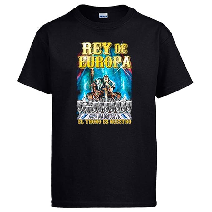 Camiseta Madrid fútbol Rey de Europa El Trono es nuestro - Negro, S