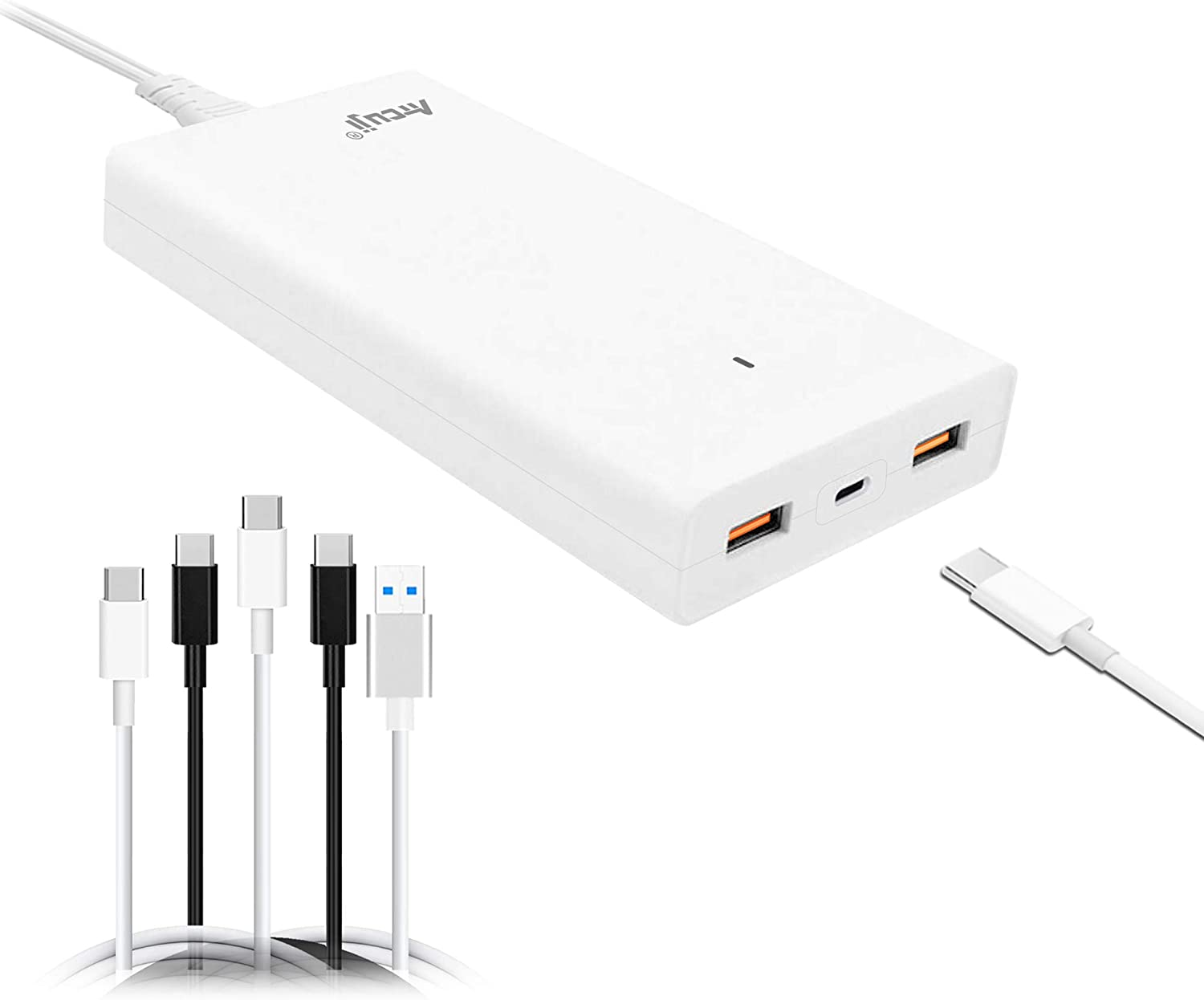 Atcuji 13PA USB C Power Adapter with 130W 90W Power Delivery for Apple MacBook Pro 87W USB C Charger Surface Book 2 Pro X 7 USB-C Power Supply Laptop HP Dell Quick Charge 3.0 iPhone Samsung and More