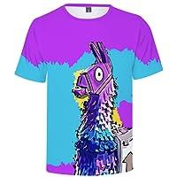 EMILYLE Fnite Llamas Scena del Gioco Stampato Figura Maglietta per Uomo Bambini e Ragazzi Unisex PVP Pullover Manica Corta T-Shirt