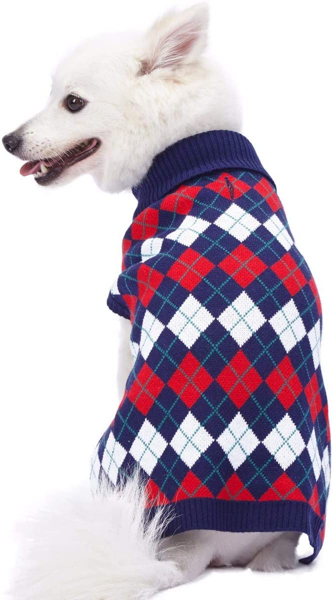 Back Length 51cm Blueberry Pet Chic Argyle All Over Dog Jumper in Navy Blue Pack of 1 Clothes for Dogs