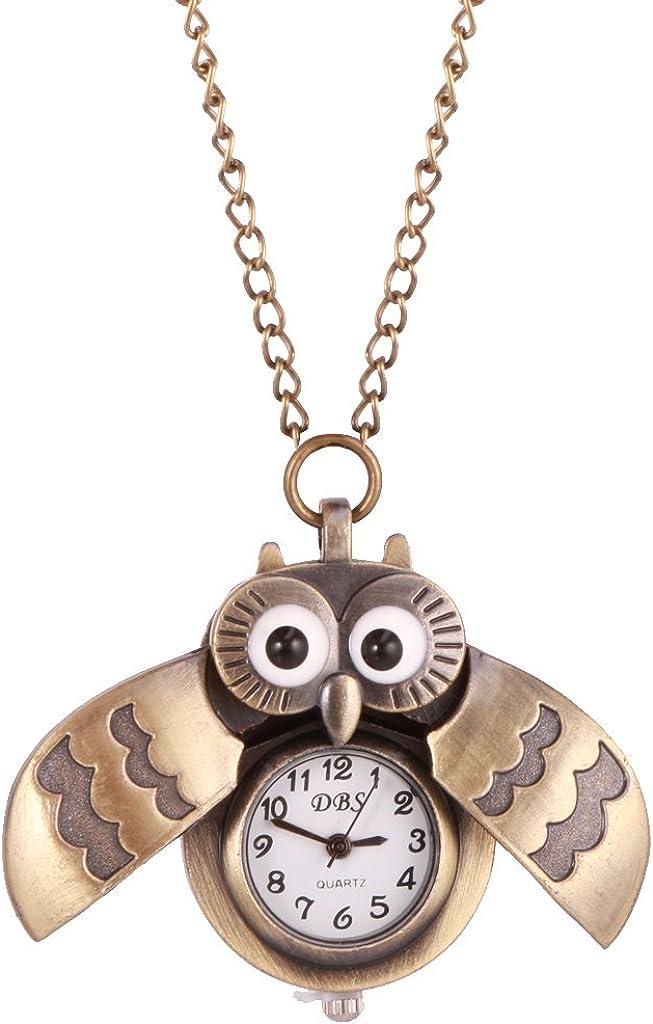 Reloj de Bolsillo Cadena Collar Colgante de Búho Reloj de Números Cuarzo Joyería para Mujeres Regalo De Moda