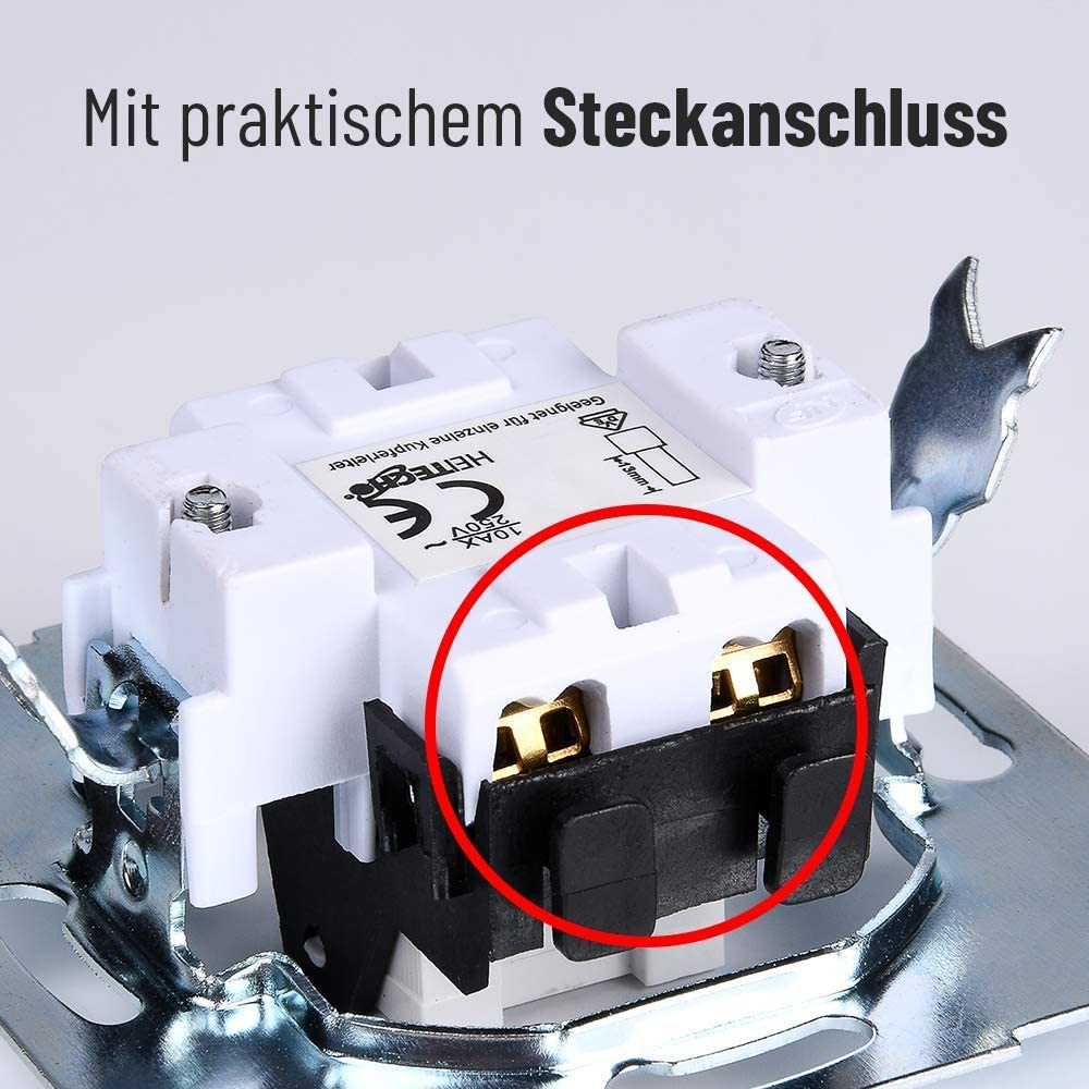 Interruptor HEITECH para montaje en superficie en locales h/úmedos IP54 Interruptor de montaje en superficie de 1gang AP conmutador 250V 10A