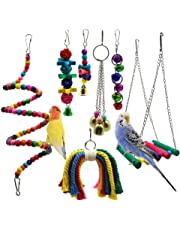 Bird Parrot Toys, 7 Packs Bird Swing Chewing Hanging Perches with Bells for Pet Parrot Lovebird Howl Budgie Cockatiels Macaws Finches and Other Small Medium Lorikeets Birds