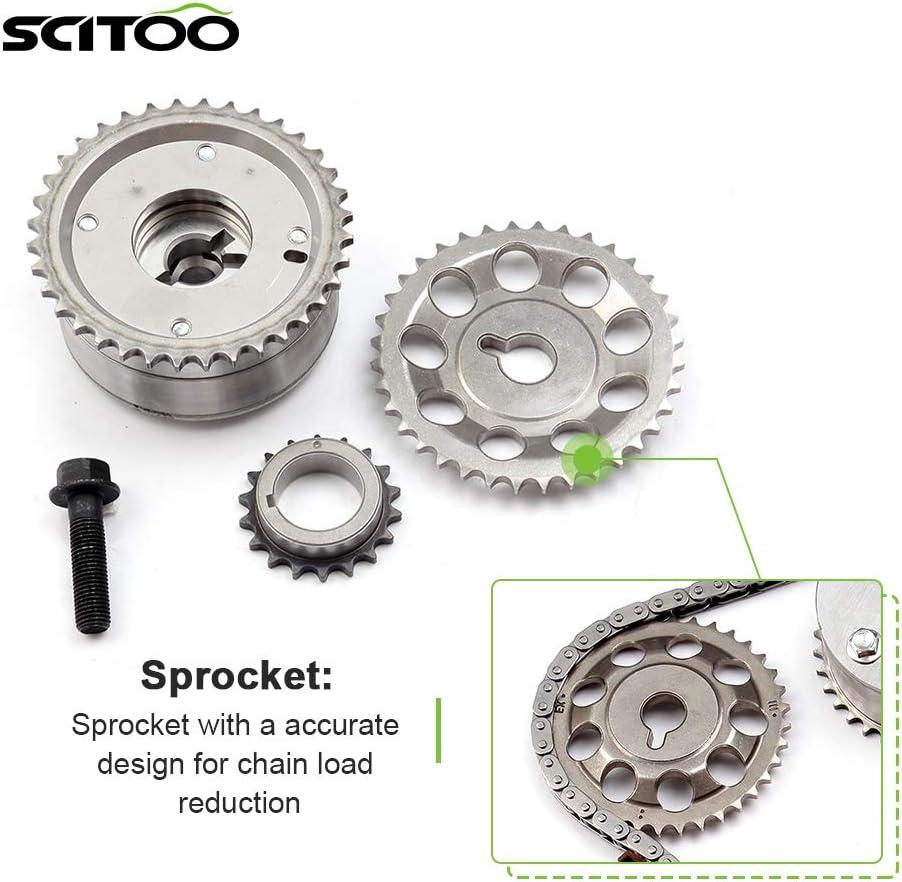 SCITOO TK2000 Timing Chain Kit Tensioner Guide Rail Cam Sprocket Crank Sprocket Compatible Toyota Prius Yaris Echo Scion xA 1.5 052099-5206-1541211