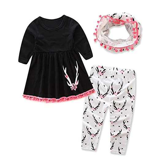 665b7b027a2 Image Unavailable. Image not available for. Color  Binmer(TM) Toddler Baby  Girls Deer Print Tops+Pants +Scarf Outfits Set
