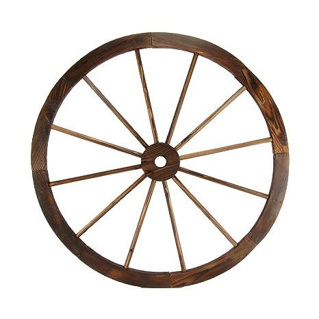 Large 32u0026quot; Wood Wagon Wheel Outdoor Rustic Yard Or Garden Decor