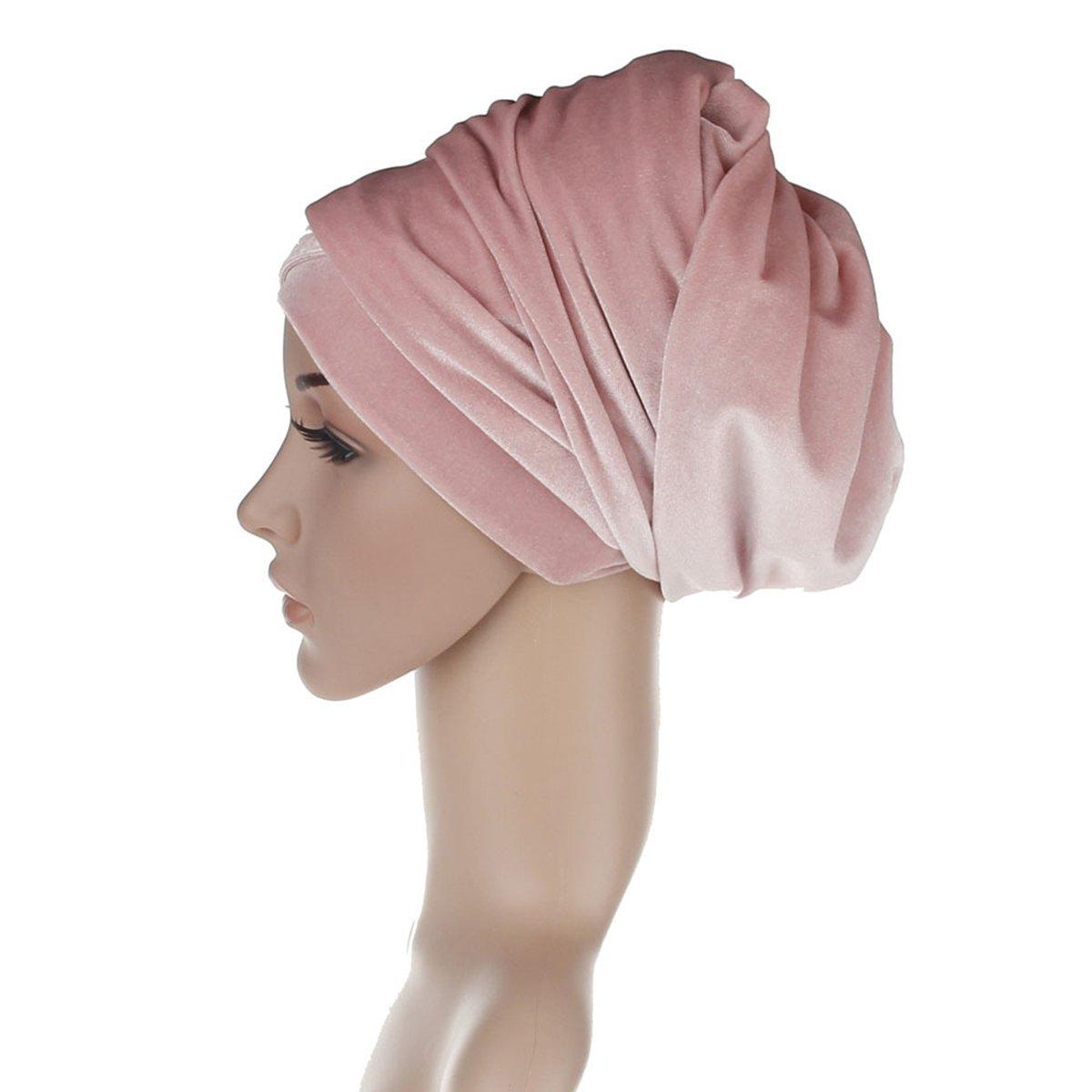 Butterme Invierno Luxury Terciopelo Doblado Headwrap Turban Jersey Hijab Head Wrap para Mujer(Azul): Amazon.es: Hogar
