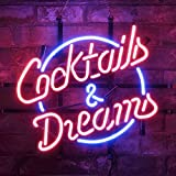 Gritcol Cocktails & Dreams Beer Bar Bistro Wall Window Neon Sign Light Man Cave Patio Room Decor 17'' x 14''