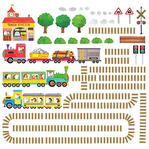 Decowall DW-1504 Trains and Tracks Kids Wall Decals Wall Stickers Peel and Stick Removable Wall Stickers for Kids Nursery Bedroom Living Room (Train Wall Decals)