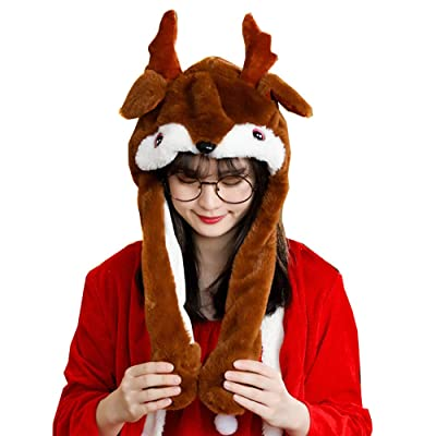 Santa Deer Hat Plush Moving Ear Hat Elk Pop Up Ears Cap Christmas Funny Jumping Hat Plush Toys Brown: Clothing