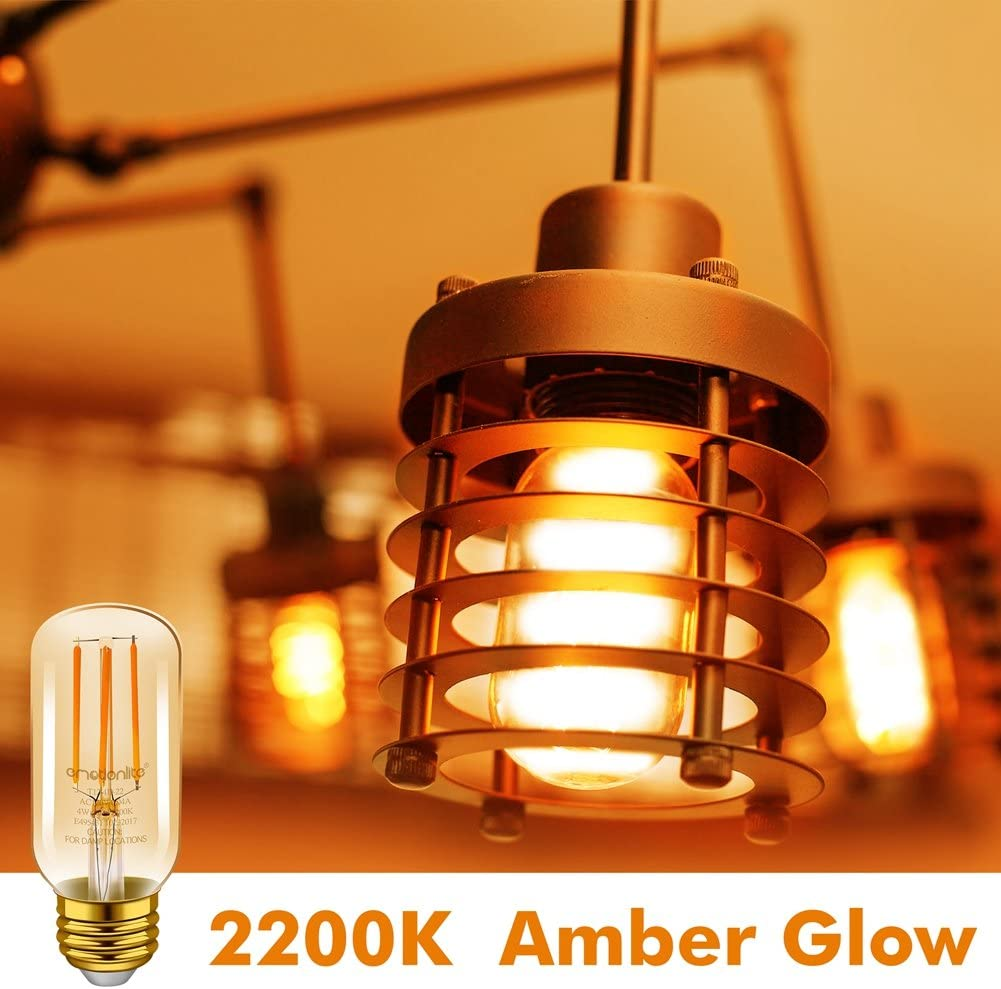 600LM 6W UL Listed E26 Medium Base Amber Yellowish 60W Equivalent Emotionlite Dimmable E26 Vintage Edison LED Light Bulbs 6 Pack 2200K