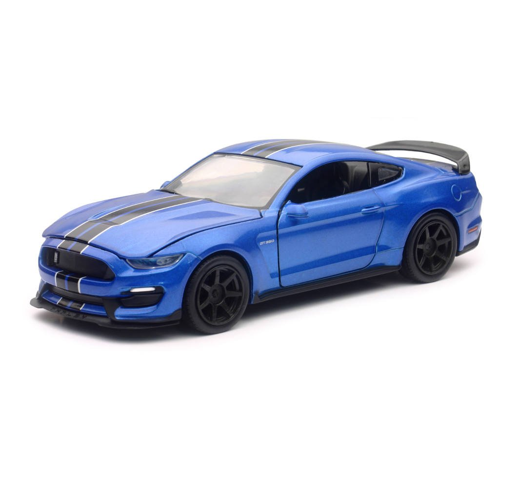 2016 Ford Shelby Mustang GT350R Blue with Black Stripes 1 24 Diecast Model Car by New Ray SS 71833BL