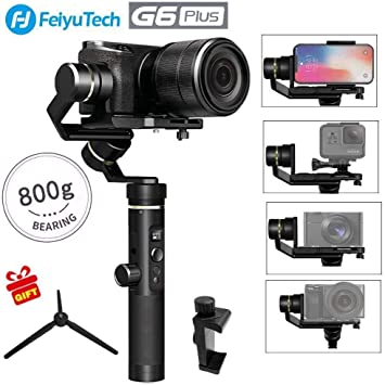 Extension Bar Tripod Adapter Splash-Proof 800g Payload 12 Hours Running Time for Smartphone//Action Camera Gopro//Digital Cameras Feiyu G6 Plus 3-Axis Brushless Handheld Gimbal Stabilizer