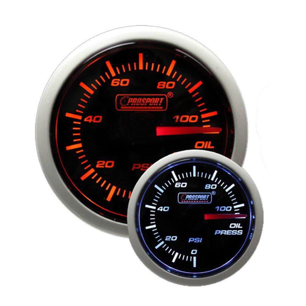 Prosport Performance Series Gauge (Oil Pressure Gauge (Electric) w sender, Amber White 52mm) Prosport Gauges 216BFWAOPSM.PSI