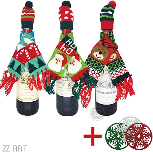 Christmas Decorations for Home Claus Wine Bottle Cover Snowman Stocking Gift Z