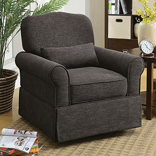 Furniture of America CM-RC6459GY Lesly 360 Swivel Glider Chair Rocker - Glider Recliner Cottage