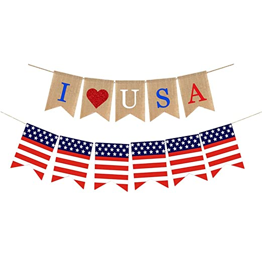 Amosfun Banner Día de la Independencia Americana Love Theme ...