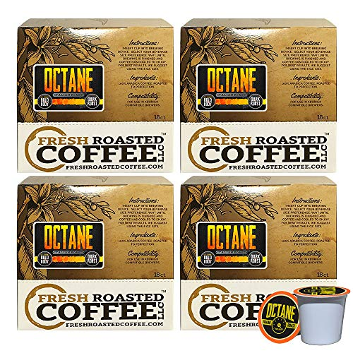 Fresh Roasted Coffee LLC, Octane Italian Roast Coffee Pods, Dark Roast, Artisan Blend, Capsules Compatible with 1.0 & 2.0 Single-Serve Brewers, 72 Count