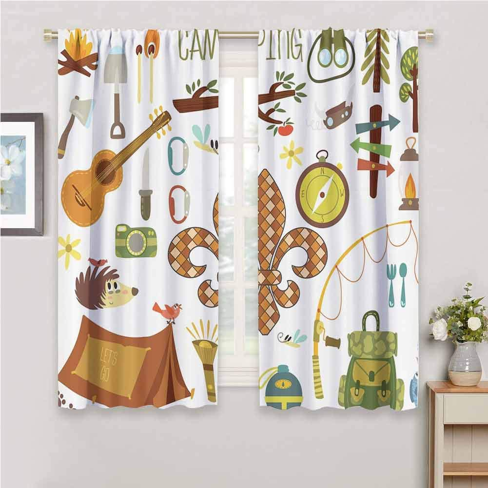 Fleur de Lis All season insulation Camping Equipments Boy Scout Campfire Symbol Fishing Lure Fancy Decorations Lake Noise reduction curtain panel living room W54 x L84 Inch Brown Mustard Green White by GUUVOR