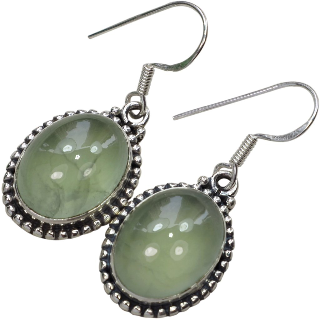 45 Ctw Genuine Prehnite Gemstone /& 925 Silver Plated Dangle Earrings Made By Sterling Silver Jewelry