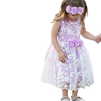 3d6863ac4e451 ❤️Filles Robe PANPAN Bébé sans Manches Broderie Maille Robe Robe Jupe Fleur  Jupe Princesse Tutu