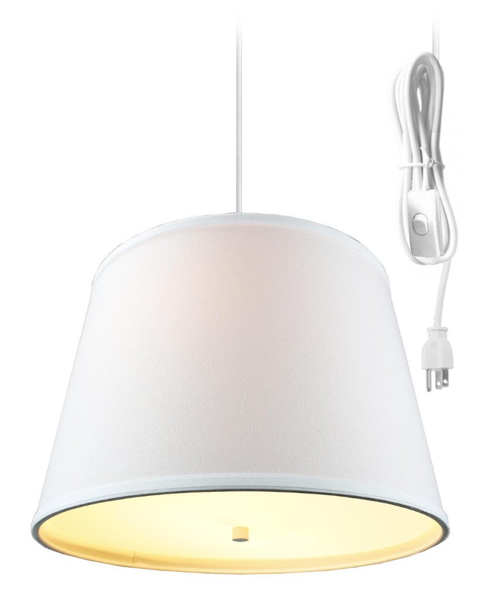 2 Light Plug-in Pendant Light by Home Concept - Hanging Swag Lamp White 2 Light Swag Plug-in Pendant with Diffuser