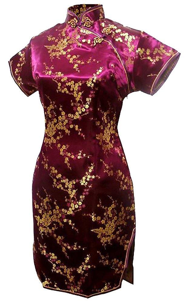 7Fairy Women's Burgundy Floral Mini Chinese Evening Dress Cheongsam 1110008