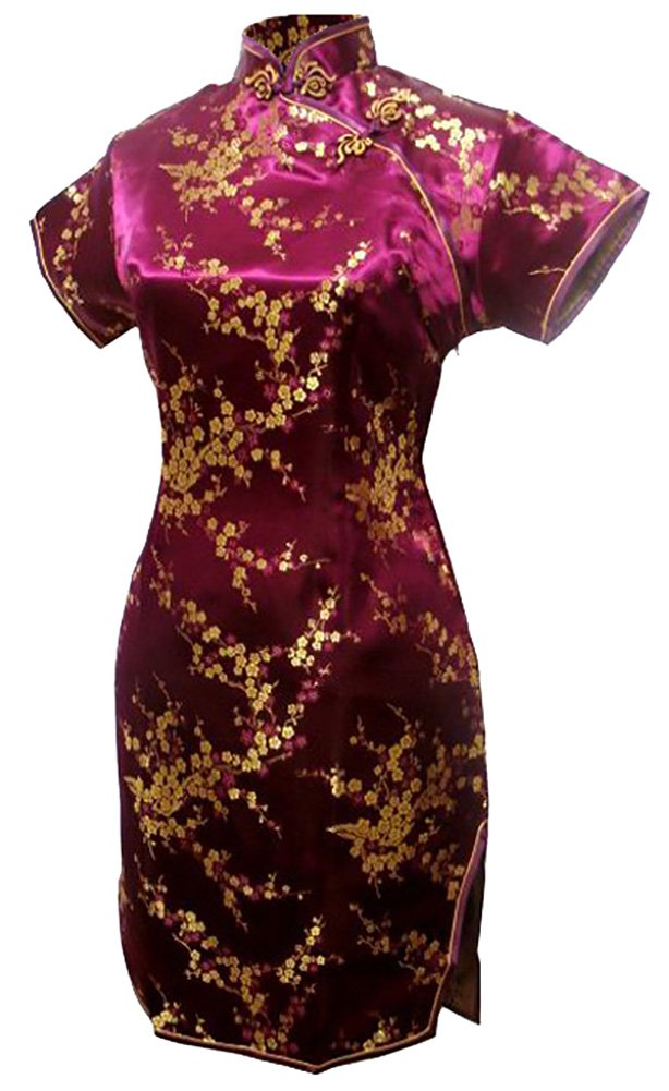 7Fairy Women's Burgundy Floral Mini Chinese Evening Dress Cheongsam Size 6 US