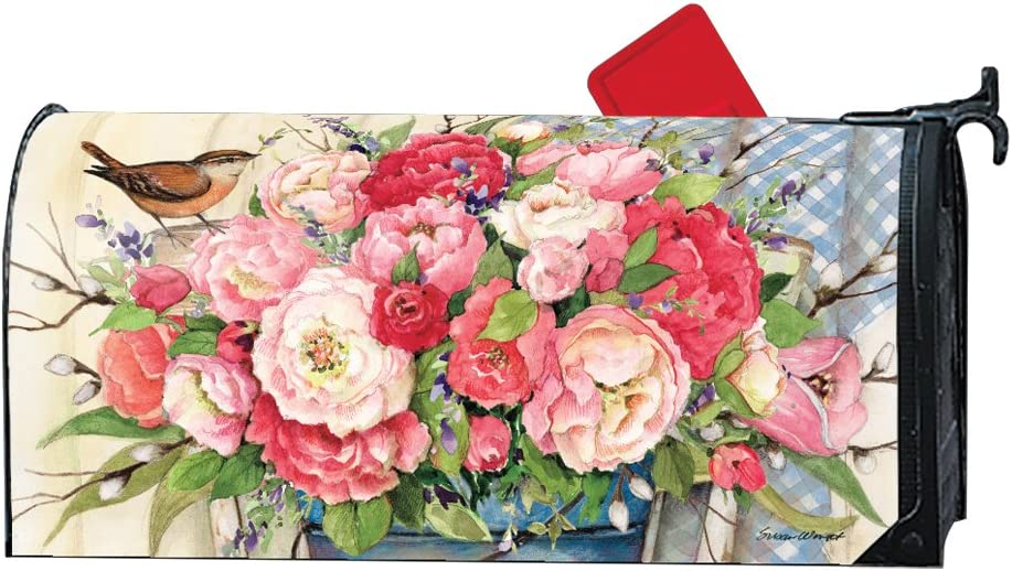 MailWraps Bucket Full of Peonies Magnetic Mailbox Cover