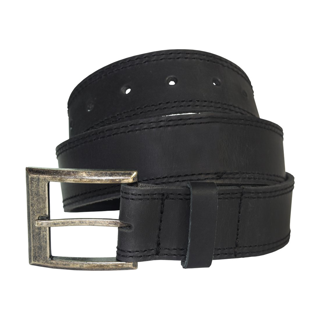 Men's Two Row Stitch Leather Belt Handmade by Hide & Drink :: Charcoal Black (Size 32)