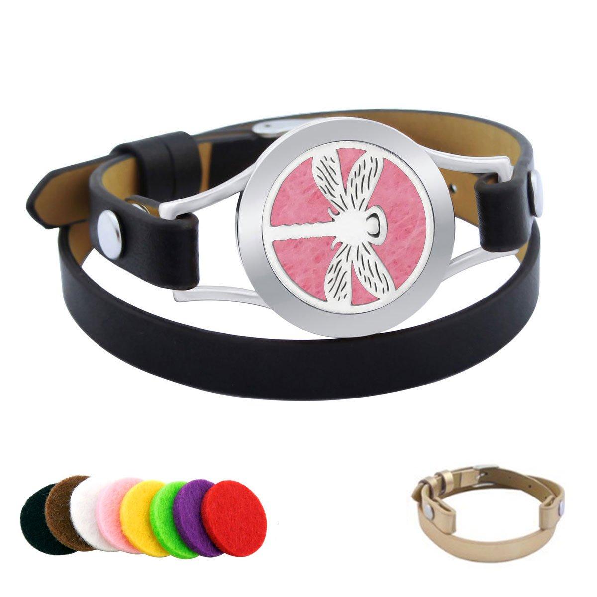 New Star Dragonfly Aroma Leather Bracelet Kids Essential Oil Locket Bracelet For Kids Leather Diffuser