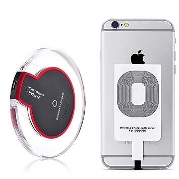 Qrity Cargador Inalámbrico + Receptor Qrity - Cargador de móvil por inducción paraiPhone 7/7 Plus 6s/6s Plus 6/6Plus 5s/5c/5 Galaxy Galaxy S7, S7 ...