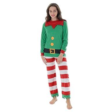 Autumn Faith Womens Christmas Mummy Elf Fleece Pyjamas Set Ladies Santas  Little Helper Red   Green Long Sleeved Top   Bottoms Novelty Xmas PJS  Nightwear 43c137108