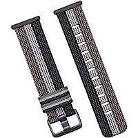 Hemobllo Compatible for Fitbit Versa 3 Woven Nylon Bands Replacement Woven Fabric Strap Bangle Black White Grey