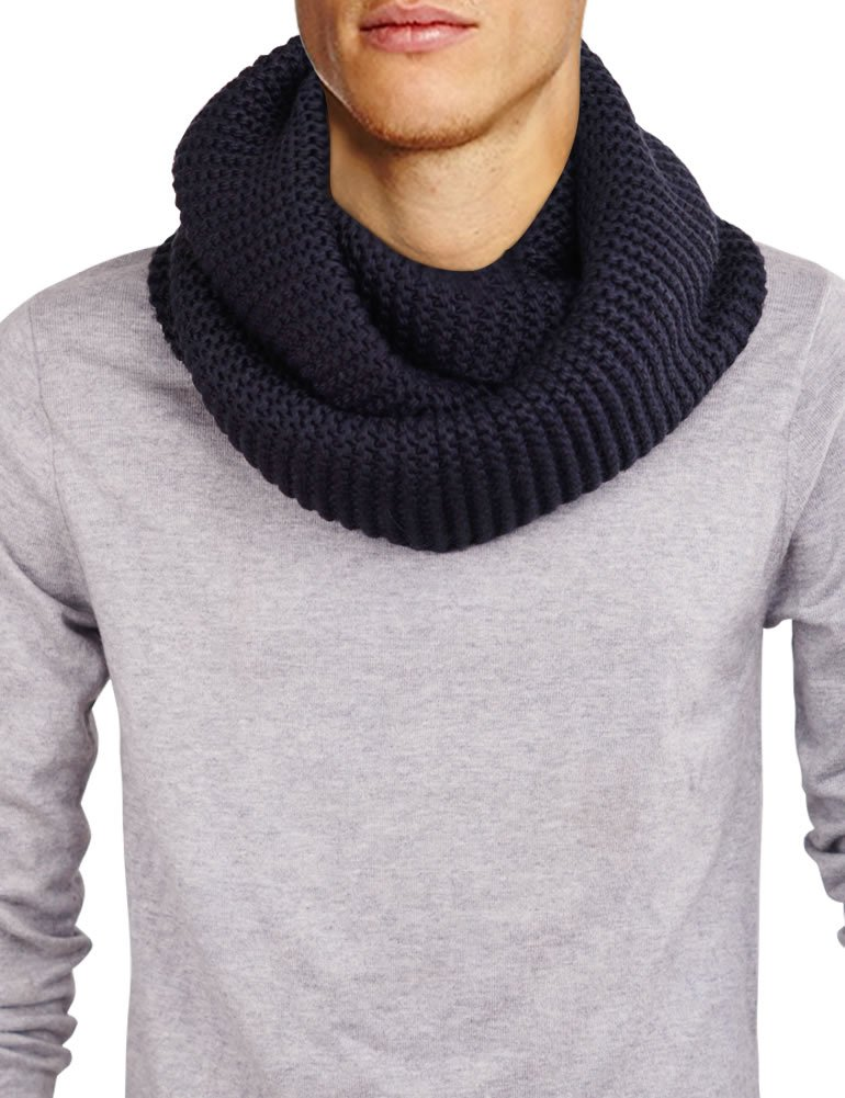DELUXSEY Mens Long Chunky Infinity Scarf (Navy) - Winter Scarf for Men