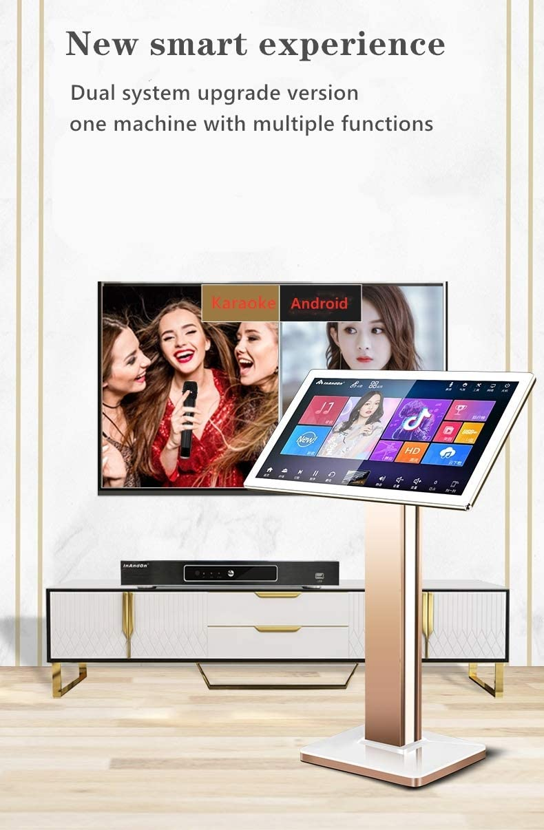 with reverb wireless microphone 22-inch capacitive touch screen free cloud download function YOUTUBE APP online play InAndon KV-503 Pro karaoke player 4T hard disk, Black Touch screen