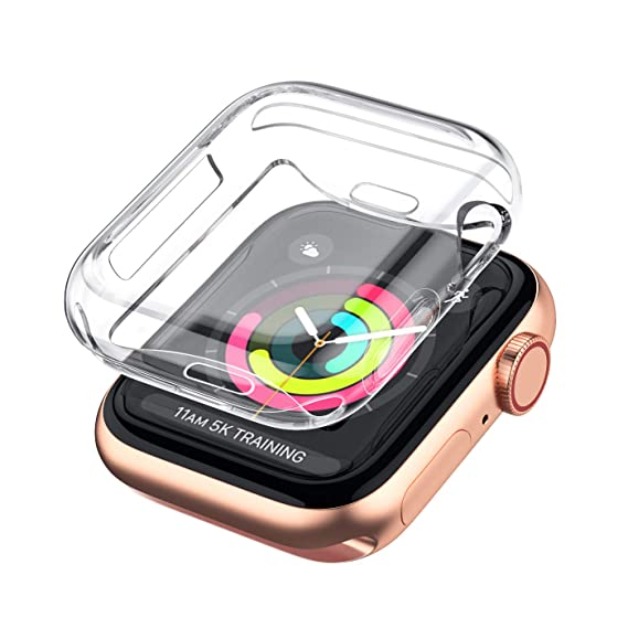 uk availability a520b f039e LELONG Case for Apple Watch Series 4 3 2 Screen Protector 38mm 42mm 40mm  44mm, Soft TPU All-Around Clear Protective Cover for iWatch Series 4,Series  ...